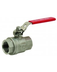Monobloc stainless steel ball valve F/F 2 pieces - Full bore - Flat red handle