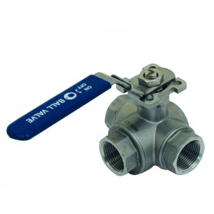 Stainless steel ball valve - 3 ways in L with ISO 5211 Mounting plate