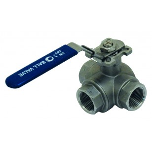 Stainless steel ball valve - 3 femal ways in T - ISO 5211 motorisation support