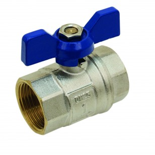 Brass ball valve - F / F - ''Etoile'' series - Standard bore - Butterfly blue handle