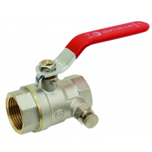 Brass purge ball valve - F / F - ''Etoile'' series- Standard bore - Flat red steel handle