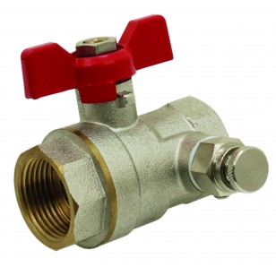 Brass ball valves F / F with drain cock - ''Etoile'' range - Standard bore - Red butterfly handle