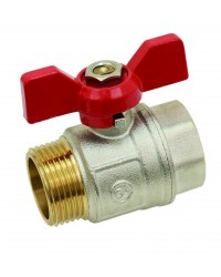 Brass ball valve - M / F - ''Etoile'' series - Standard bore - Butterfly red handle