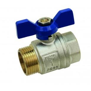 Brass ball valve - M / F - ''Etoile'' series - Standard bore - Butterfly blue handle