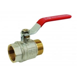 Brass ball valve - F / F - ''Etoile'' series - Standard bore - Flat red stainless steel handle
