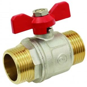 Brass ball valve - M / M - ''Etoile'' series - Standard bore - Butterfly red handle
