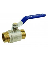 Brass ball valve - M / M - ''Etoile'' series - Standard bore - Flat blue steel handle