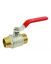Brass ball valve - M / M - ''Etoile'' series - Standard bore - Flat red stainless steel handle