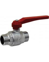Vanne àsphère laiton M/M à passage intégral - Série standard - Poignée aluminium rouge
