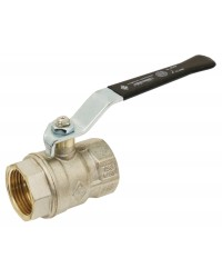 Brass ball valve - F/F - ''Normal series'' - Full bore - Flat black steel handle