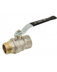 Brass ball valve - M/F - ''Normal series'' - Full bore - Flat black steel handle