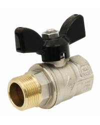 "Brass ball valve - M / F - Full bore - ""Normal series"" - Butterfly black handle"