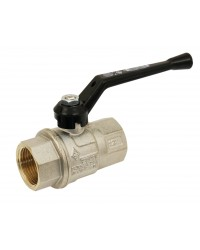 Brass ball valve - F/F - Long threaded series - Full bore - Black aluminium handle