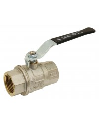 Brass ball valve - F/F - Long threaded series - Full bore - Flat black steel handle