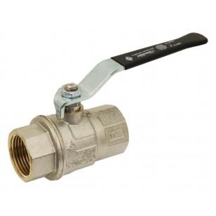 Brass ball valve - F/F - Long threaded series - Full bore - Flat black steel handle