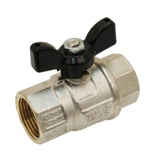 Brass ball valve - F/F - Long threaded series - Full bore - Butterfly black handle