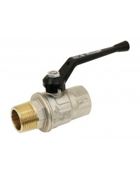 Brass ball valve - M/F - Long threaded series - Full bore - Black aluminium handle
