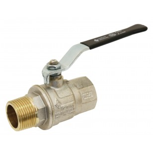 Brass ball valve - M/F - Long threaded series - Full bore - Flat black steel handle