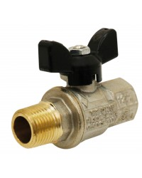 Brass ball valve - M/F - Long threaded series- Full bore - Butterfly black handle