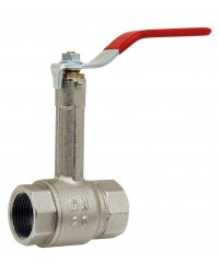 Vanne à sphère laiton F / F monobloc avec prolongateur - Poignée acier plate rouge