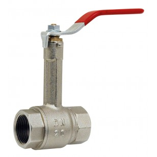 Brass ball valve - F/F - Monobloc with extension - Flat red steel handle