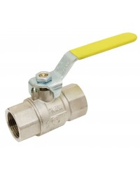 Brass ball valve - F / F - Gas series - Yellow steel handle