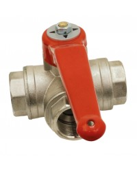3 female ways brass ball valve - Horizontal - L ways