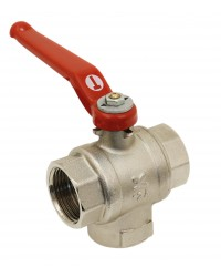 3 female ways brass ball valve - Vertical - L ways