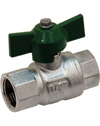 "Brass ball valve - F / F - ""Green series"" - Butterfly handle"