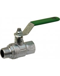 "Brass ball valve - M / F - ""Green series"" - Flat steel handle"