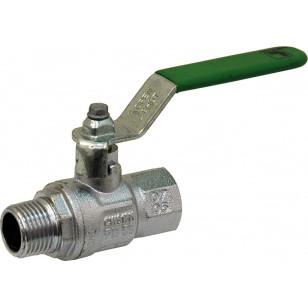 "Brass ball valve - M / F - ""Green series"" - Flat steel handle"