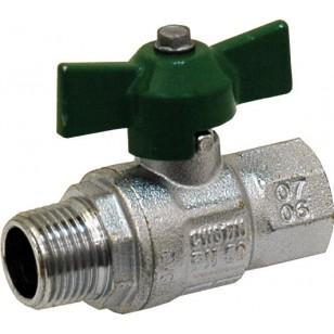 """Brass ball valve - M / F - """"Green series"""" - Butterfly handle"""