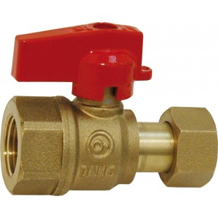 Ball valve for manifold - Female / Swivel nut - Red handle