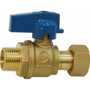 Ball valve for manifold - Male / Swivel nut - Blue handle