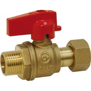 Ball valve for manifold - Male / Swivel nut - Red handle