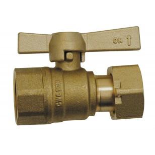 Vanne à sphère laiton F / EP - Droit - Pour compteur d'eau