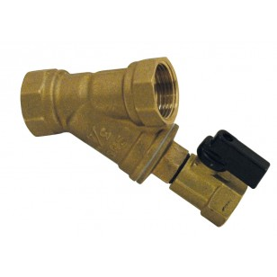 "Brass strainer - ""Y"" type - Female / Female - With flush valve"