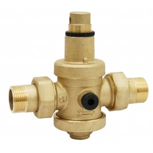 """Pressure reducing valve - Brass hot forged piston type - 2 union male fittings - """"Industrial series"""""""